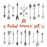 Frecce tribali messe Raccolta differente delle frecce del nativo americano Illustrazione stilizzata di vettore decorativo delle a Immagine Stock