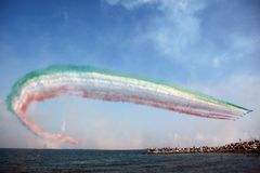 Frecce Tricolori - команда итальянской военновоздушной силы циркаческая Стоковое Изображение