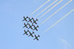 Frecce Tricolori. Italian Frecce Tricolori acrobatic team during International Airshow in Radom (Poland). Photo taken on: August 28th, 2011 Stock Image
