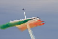 Frecce Tricolori. Italian Frecce Tricolori acrobatic team during International Airshow in Radom (Poland). Photo taken on: August 28, 2011 Stock Photos
