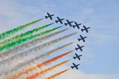 Frecce Tricolori. Italian Frecce Tricolori acrobatic team during International Airshow in Radom (Poland). Photo taken on: August 28, 2011 Royalty Free Stock Photo