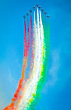 Frecce tricolori. Acrobatic team in formation in Bucharest 2012 at Baneasa Airport Stock Images