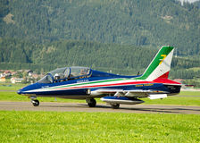Frecce tricolori. Acrobatic flying group preparing to takeof Royalty Free Stock Images