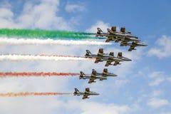 Frecce Tricolori. Aerial display by the frecce Tricolori at the Malta International Airshow Stock Photos