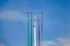 Frecce Tricolori. Aerial display by the frecce Tricolori at the Malta International Airshow Stock Images