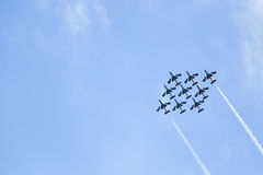 Frecce Tricolori. Aerial display by the frecce Tricolori at the Malta International Airshow Royalty Free Stock Image