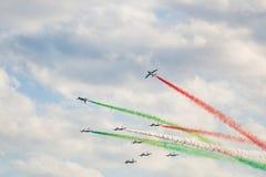 Frecce Tricolori. Aerial display by the frecce Tricolori at the Malta International Airshow Stock Photo