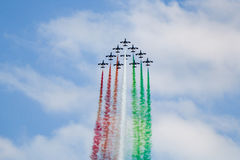 Frecce Tricolori. Aerial display by the frecce Tricolori at the Malta International Airshow Royalty Free Stock Photography