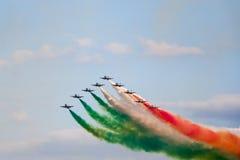 Frecce Tricolori. Aerial display by the frecce Tricolori at the Malta International Airshow Stock Image
