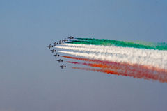 The Frecce Tricolori. Aerobatic demonstration team of the Italian Aeronautica Militare trailing smoke in the color of the Italian flag Royalty Free Stock Photos