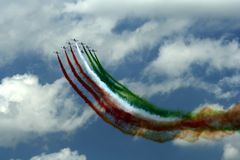 Frecce Tricolori air demonstration team. At an air show in Romania Royalty Free Stock Images