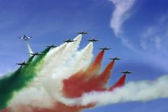 Frecce Tricolori demonstration team. At an air show in Romania Royalty Free Stock Image