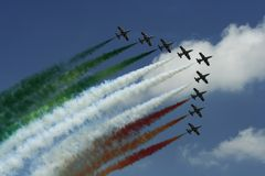 Frecce Tricolori demonstration team. At an air show in Romania Stock Photos