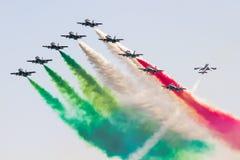 Frecce Tricolori : exécution acrobatique aérienne italienne d'équipe Images libres de droits