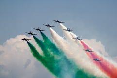 Frecce Tricolori. Exhibition of the italian airforces top guns Frecce Tricolori Royalty Free Stock Photo