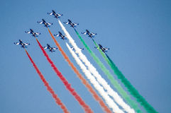 Frecce Tricolori. Flying at an Air Show Royalty Free Stock Image