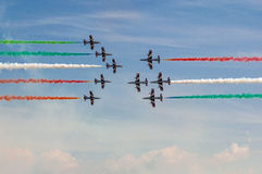 Frecce Tricolori. Flying at an Air Show Royalty Free Stock Photos