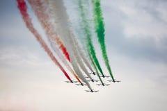 Frecce tricolori i den Monza F1 granda prixen 2018 royaltyfri foto
