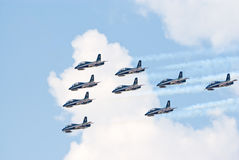 Frecce Tricolori jets in formation Stock Photos