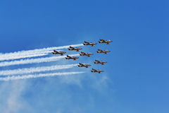 Frecce Tricolori planes. Frecce Tricolori team planes flying together in formation during air show Royalty Free Stock Photography