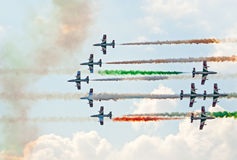 Frecce Tricolori team demonstrates aerobatics Royalty Free Stock Photography