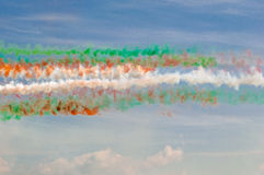 Frecce Tricolori. Vapor of the Frecce Tricolori flying at an Air Show Royalty Free Stock Photography