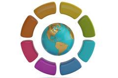 Frecce variopinte del cerchio con il globo del mondo su fondo bianco 3d Immagine Stock Libera da Diritti