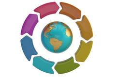 Frecce variopinte del cerchio con il globo del mondo su fondo bianco 3d Fotografie Stock