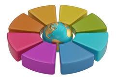 Frecce variopinte del cerchio con il globo del mondo su fondo bianco 3d Fotografia Stock