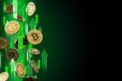 Frecce verdi che indicano su come aumenti di prezzi di Bitcoin BTC Isolato su fondo nero, spazio della copia I prezzi di Cryptocu royalty illustrazione gratis