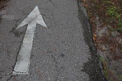 Freccia afflitta bianca su Asphalt Bike Trail immagine stock libera da diritti