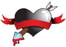 Freccia al cuore nero 1 Immagini Stock