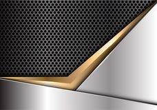 Freccia astratta dell'oro sul vettore futuristico di lusso moderno del fondo del cerchio di progettazione grigio scuro d'argento  Immagine Stock