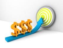 Freccia aumentante di simboli di valuta del dollaro all'obiettivo di successo Immagine Stock Libera da Diritti
