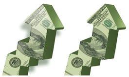 Freccia in aumento del dollaro Fotografie Stock
