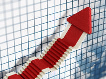 Freccia in aumento di vendite con struttura del tappeto rosso Fotografia Stock
