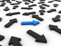 Freccia blu differente illustrazione di stock