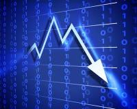 Freccia blu giù Immagini Stock Libere da Diritti