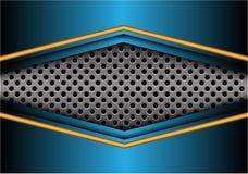 Freccia blu gialla astratta del metallo sul vettore futuristico moderno del fondo di progettazione dell'insegna della maglia del  illustrazione di stock