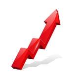 Freccia brillante rossa 3d che va su, infographic illustrazione di stock