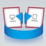 Freccia circolare con gli opuscoli di presentazione Fotografia Stock
