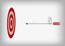 Freccia con il simbolo del dollaro ed obiettivo di tiro con l'arco sul BAC grigio Fotografie Stock Libere da Diritti