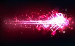 Freccia con le stelle cadenti della luce del messaggio di amore ed il cuore, luccichio d'ardore al neon, neve della decorazione,  illustrazione vettoriale