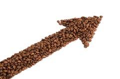Freccia dai chicchi di caffè fotografie stock