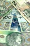Freccia dalle banconote polacche Fotografie Stock