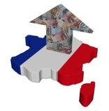 Freccia degli euro della Francia sulla bandiera della mappa Fotografia Stock Libera da Diritti