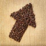 Freccia dei chicchi di caffè immagine stock