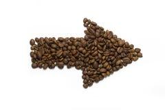 Freccia dei chicchi di caffè Fotografia Stock Libera da Diritti
