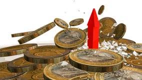 Freccia dei soldi che rompe sulle euro monete - rappresentazione 3d Immagine Stock Libera da Diritti