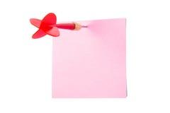 Freccia del dardo e posta appiccicosa Fotografia Stock Libera da Diritti